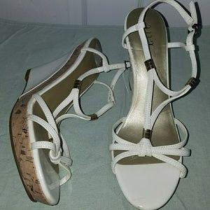 White Wedge sandals. 3.5 inch